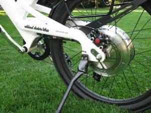 Velociti electric bike motor close-up