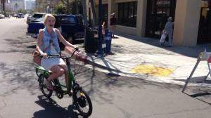 smiling woman on odk cargo bike